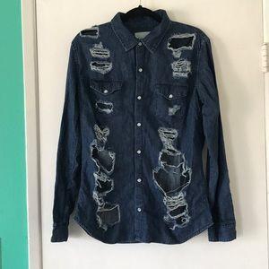 LF carmar distressed oversized denim shirt